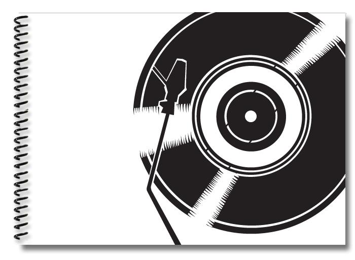 record-white-black
